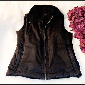 BANANA REPUBLIC Fleece Collar Black Vest